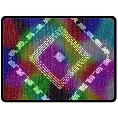 Embroidered Fabric Pattern Double Sided Fleece Blanket (Large)