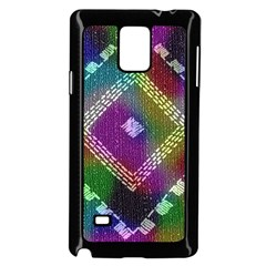 Embroidered Fabric Pattern Samsung Galaxy Note 4 Case (Black)