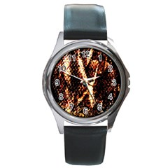 Fabric Yikes Texture Round Metal Watch
