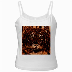 Eye Of The Tiger White Spaghetti Tank