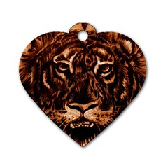 Eye Of The Tiger Dog Tag Heart (One Side)