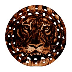 Eye Of The Tiger Round Filigree Ornament (Two Sides)