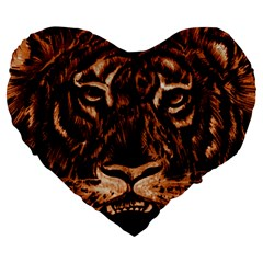 Eye Of The Tiger Large 19  Premium Heart Shape Cushions