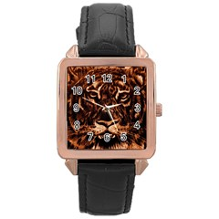 Eye Of The Tiger Rose Gold Leather Watch