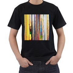 Fabric Men s T-Shirt (Black) (Two Sided)
