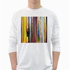 Fabric White Long Sleeve T-Shirts