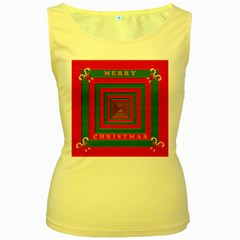 Fabric 3d Merry Christmas Women s Yellow Tank Top