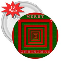 Fabric 3d Merry Christmas 3  Buttons (10 Pack)