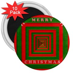Fabric 3d Merry Christmas 3  Magnets (10 pack)