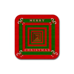 Fabric 3d Merry Christmas Rubber Square Coaster (4 Pack)