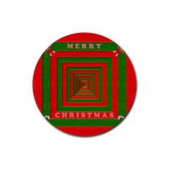 Fabric 3d Merry Christmas Rubber Round Coaster (4 pack)