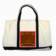 Fabric 3d Merry Christmas Two Tone Tote Bag
