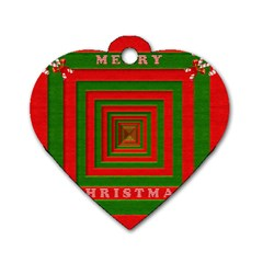 Fabric 3d Merry Christmas Dog Tag Heart (Two Sides)