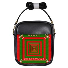 Fabric 3d Merry Christmas Girls Sling Bags