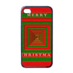 Fabric 3d Merry Christmas Apple iPhone 4 Case (Black)