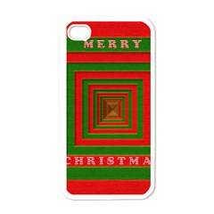 Fabric 3d Merry Christmas Apple iPhone 4 Case (White)