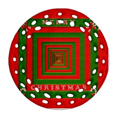 Fabric 3d Merry Christmas Round Filigree Ornament (Two Sides)