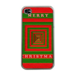 Fabric 3d Merry Christmas Apple iPhone 4 Case (Clear)