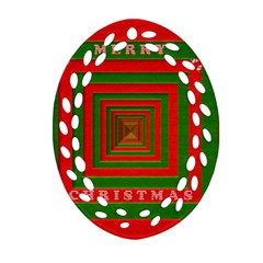 Fabric 3d Merry Christmas Oval Filigree Ornament (Two Sides)
