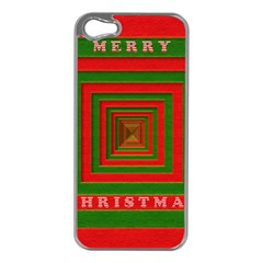Fabric 3d Merry Christmas Apple Iphone 5 Case (silver)