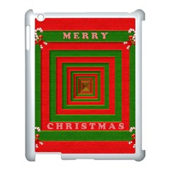 Fabric 3d Merry Christmas Apple Ipad 3/4 Case (white)