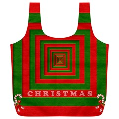 Fabric 3d Merry Christmas Full Print Recycle Bags (l)
