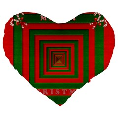 Fabric 3d Merry Christmas Large 19  Premium Flano Heart Shape Cushions