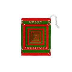 Fabric 3d Merry Christmas Drawstring Pouches (XS)