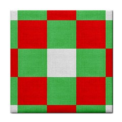 Fabric Christmas Colors Bright Tile Coasters