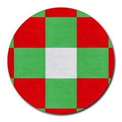 Fabric Christmas Colors Bright Round Mousepads
