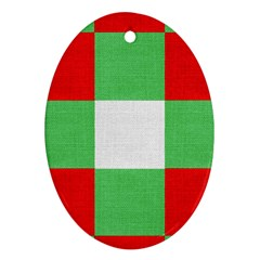 Fabric Christmas Colors Bright Ornament (Oval)