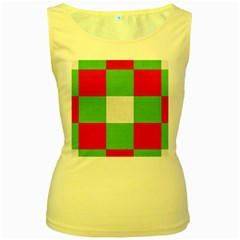 Fabric Christmas Colors Bright Women s Yellow Tank Top