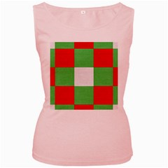 Fabric Christmas Colors Bright Women s Pink Tank Top