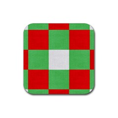 Fabric Christmas Colors Bright Rubber Coaster (Square)