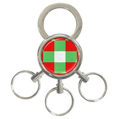 Fabric Christmas Colors Bright 3-Ring Key Chains