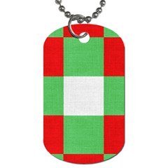 Fabric Christmas Colors Bright Dog Tag (Two Sides)