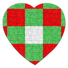 Fabric Christmas Colors Bright Jigsaw Puzzle (Heart)