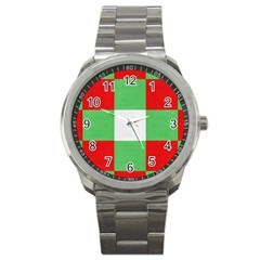 Fabric Christmas Colors Bright Sport Metal Watch