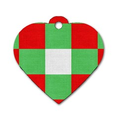 Fabric Christmas Colors Bright Dog Tag Heart (One Side)