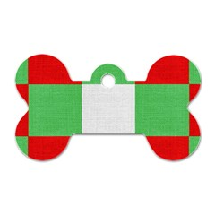 Fabric Christmas Colors Bright Dog Tag Bone (one Side)