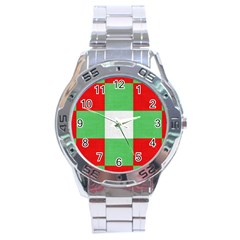 Fabric Christmas Colors Bright Stainless Steel Analogue Watch