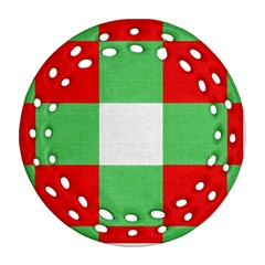 Fabric Christmas Colors Bright Round Filigree Ornament (Two Sides)