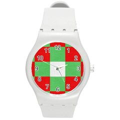 Fabric Christmas Colors Bright Round Plastic Sport Watch (M)