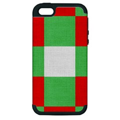 Fabric Christmas Colors Bright Apple iPhone 5 Hardshell Case (PC+Silicone)