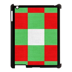 Fabric Christmas Colors Bright Apple iPad 3/4 Case (Black)