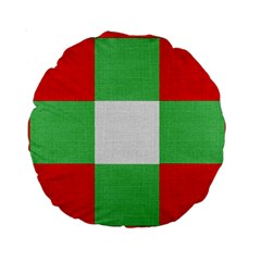 Fabric Christmas Colors Bright Standard 15  Premium Round Cushions