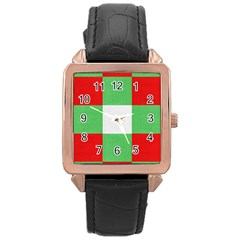 Fabric Christmas Colors Bright Rose Gold Leather Watch