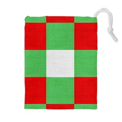 Fabric Christmas Colors Bright Drawstring Pouches (Extra Large)