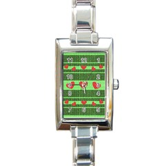 Fabric Christmas Hearts Texture Rectangle Italian Charm Watch