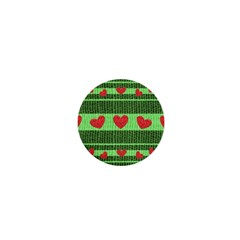 Fabric Christmas Hearts Texture 1  Mini Magnets